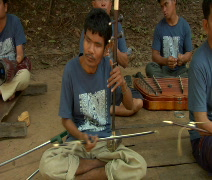 Blind band of musicians in Cambodia Stock Footage