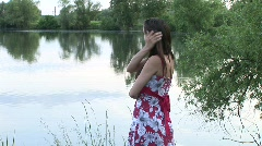 HD1080i Young attractive happy woman on lake. Stock Footage