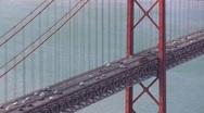 Stock Video Footage of 25 de Abril Bridge, Lisbon, Portugal