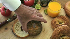 Bagel Cream Cheese Chef Stock Footage