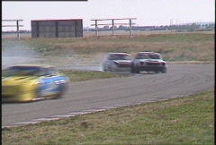 Motorsports, GT roadcourse race, smoky Mini chicane Stock Footage