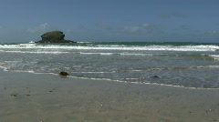 Gull rock and waves, Portreath UK. Stock Footage