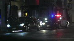 Police car lights pull over Stock Footage
