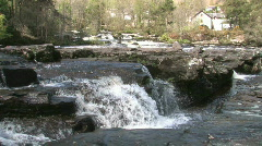 Highland River With Small Waterfall Scotland Stock Footage