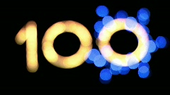 100 number made from lights Stock Footage