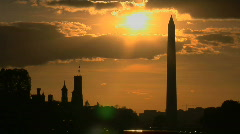Sunset Behind The Washington Monument Stock Footage