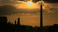 Stock Video Footage of Sunset Behind The Washington Monument