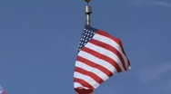 Stock Video Footage of American Flags blow in the wind