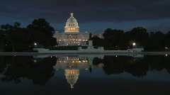 US Capital Building at Night Stock Footage