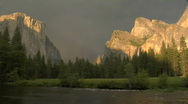 Stock Video Footage of Storm over Yosemite Valley