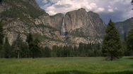 Stock Video Footage of Upper Yosemite Falls from Meadow
