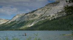 People Enjoy Lake Tenaya Lake in Yosemite National Park - stock footage