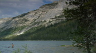 Stock Video Footage of  People Enjoy Lake Tenaya Lake in Yosemite National Park
