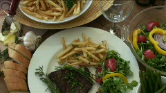 Steak and wine Stock Footage