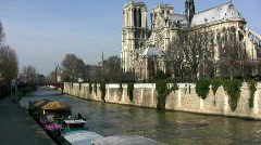 Notre Dame Cathedral and Seine river, Paris Stock Footage