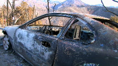 Car destroyed by fire Stock Footage