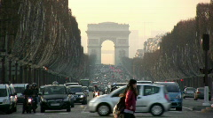 Champs-Elysees and Arc de Triomphe, Paris Stock Footage