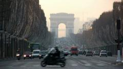 Stock Video Footage of Champs-Elysees and Arc de Triomphe, Paris
