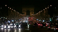 Stock Video Footage of Champs-Elysees by night, Paris