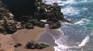 Stock Video Footage of waves meet rocky shore