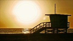 LifeguardTowerSunset Stock Footage