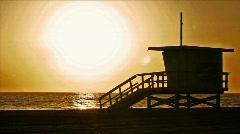 LifeguardTowerSunset - stock footage
