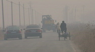 SmoggyRoad scene in Northern China Stock Footage