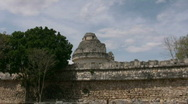 Stock Video Footage of Observatory at Chichen Itza