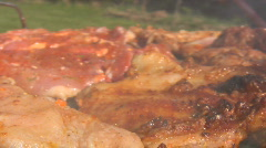 Chicken and steak cooking on a charcoal  grill 6 Stock Footage