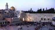Western Wall and Dome of the Rock sunset time lapse Stock Footage