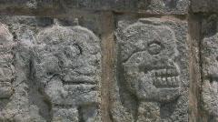 Stone skulls at Chichen Itza - stock footage