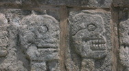 Stock Video Footage of Stone skulls at Chichen Itza