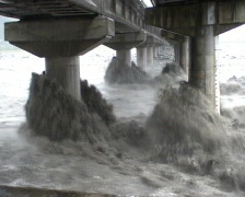 Extreme River Flood Under Bridge Stock Footage