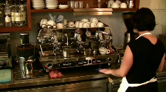 Barista female brewing coffee Stock Footage