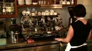Barista female brewing coffee Stock Footage
