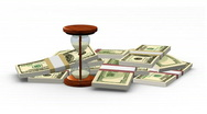 Stock Video Footage of Rotating hourglass and dollar banknotes. HD1080p.