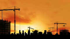 Timelapse of city construction at sunset. HD1080p. - stock footage