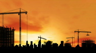 Timelapse of city construction at sunset. HD1080p. Stock Footage