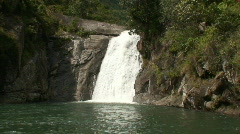 Malawi: waterfall in a rock hill at noon 4a Stock Footage