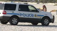 Beach Cops On Patrol 02 Stock Footage