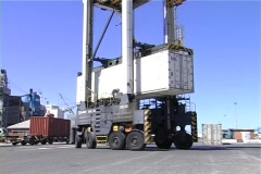 Mobile crane moving container Stock Footage
