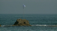 Stock Video Footage of Israeli flag rock sea