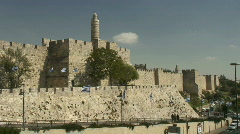 Jerusalem David citadel pan jaffa gate Stock Footage