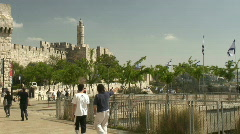 Jerusalem jaffa gate pan Stock Footage