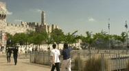 Jerusalem jaffa gate pan Stock Footage