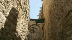 Jerusalem old city alley tilt - stock footage