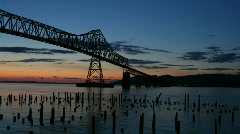 Stock Video Footage of Megler Bridge Time Lapse Sunset.mov
