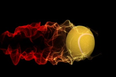 rolling tennis ball with fire trail,alpha channel - stock footage