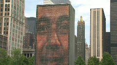 Face stone at Millennium Park, Chicago Stock Footage