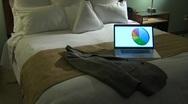 Hotel Bed Computer Tilt up 2 Stock Footage